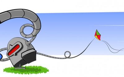 Robot joue avec vent et cerf-volant