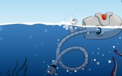 Robot nage dans la mer avec pieuvre et poisson